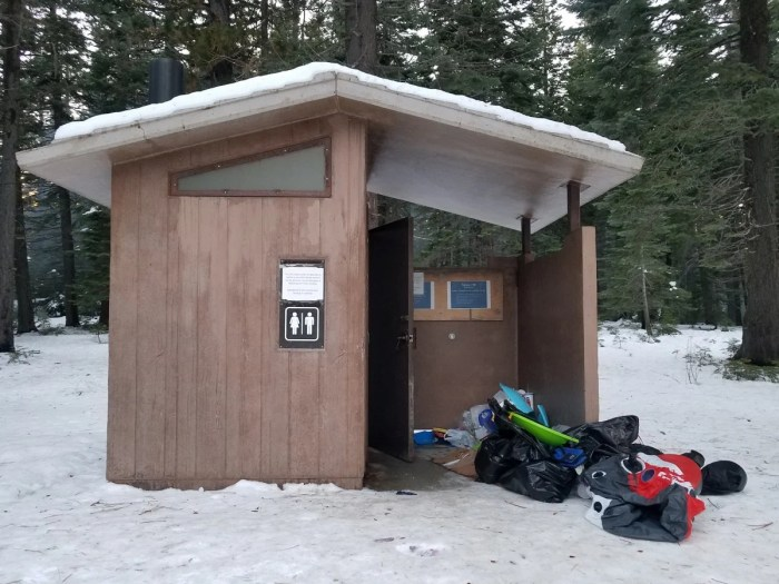 visitors have reportedly witnessed piles of trash spilling out of a public bathroom at lassen national forest in northern california