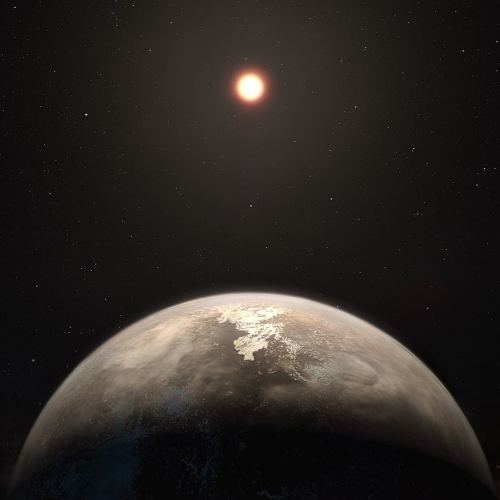 Artistic representation of an exoplanet circling a red dwarf star. (ESO / M. Kornmesser)