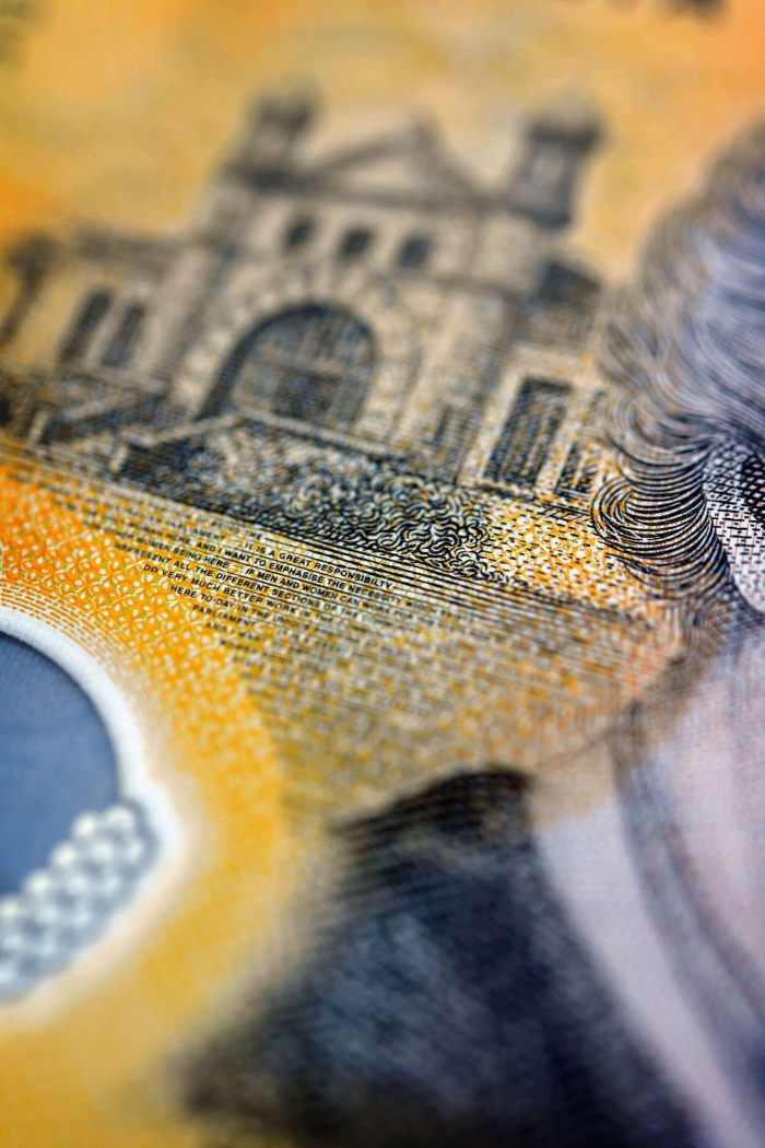 A close-up view of a current circulation 50 Australian dollar with a typo. (Dylan Coker/EPA-EFE/REX)