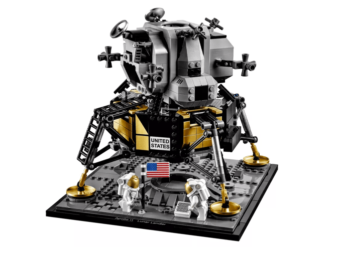 Neil and Buzz with the American flag and the Laser Rangefinding Retroreflecto. (LEGO)