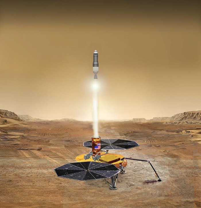 Proposed NASA Mars Sample Return mission shows the launch of the martian sample back toward Earth. (NASA/JPL-Caltech)