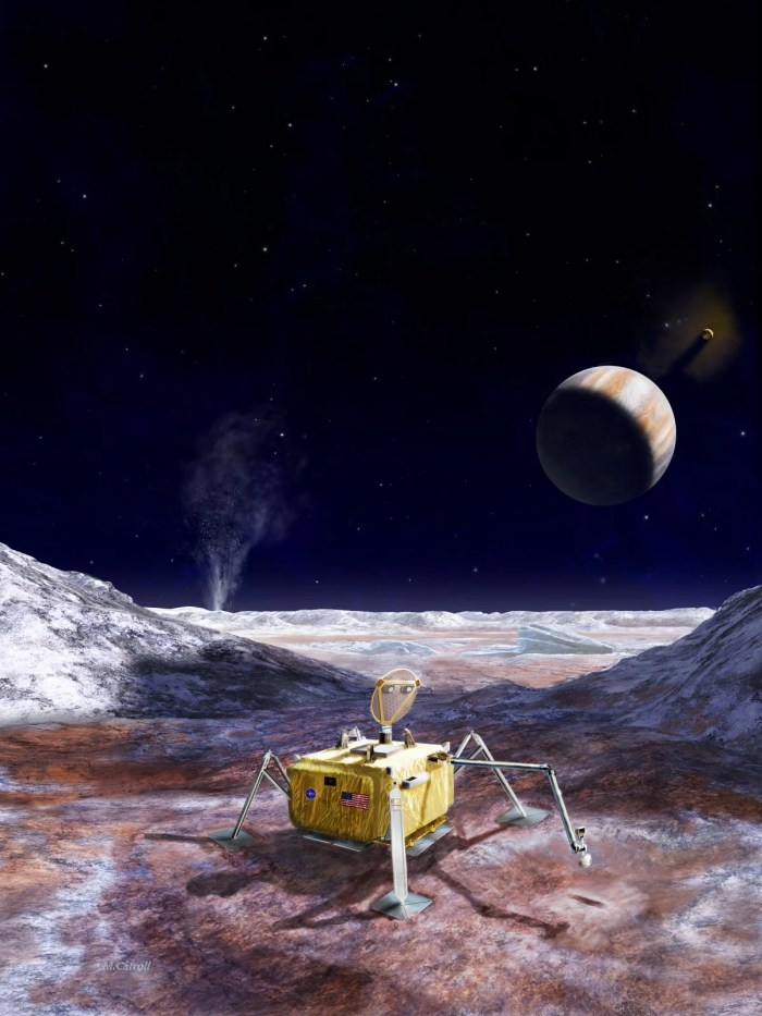 Potential future mission to land a robotic probe on Europa. (NASA/JPL-Caltech)