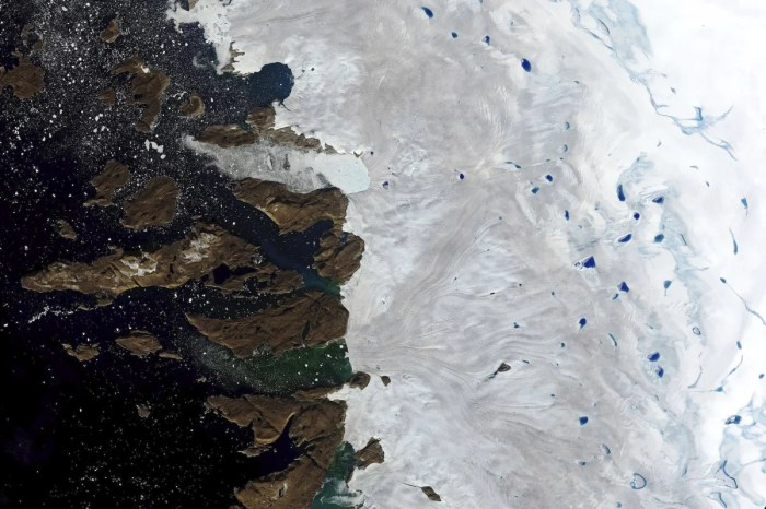 Melt-water from northwest Greenland ice sheet on 30 July 2019. (NASA/Associated Press)