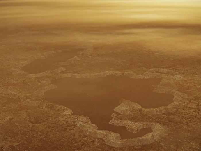 Illustration showing the raised rims of Titan's lakes. (NASA/JPL-Caltech)
