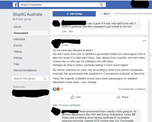 Posts from the Stop5G Australia Facebook group.