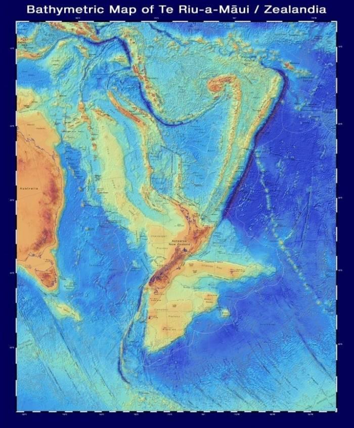 bathymetric map of zealandia