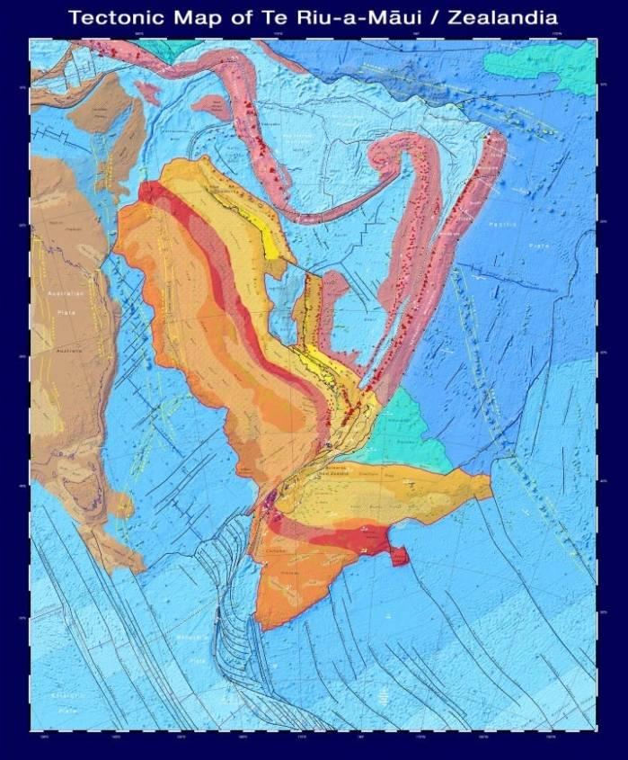 tectonic map of zealandia