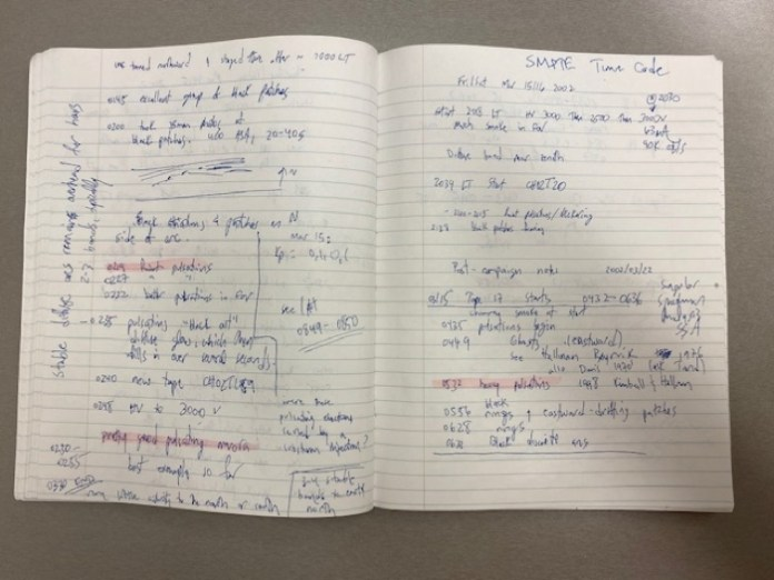 Above: 2002 notes that written by Knudsen