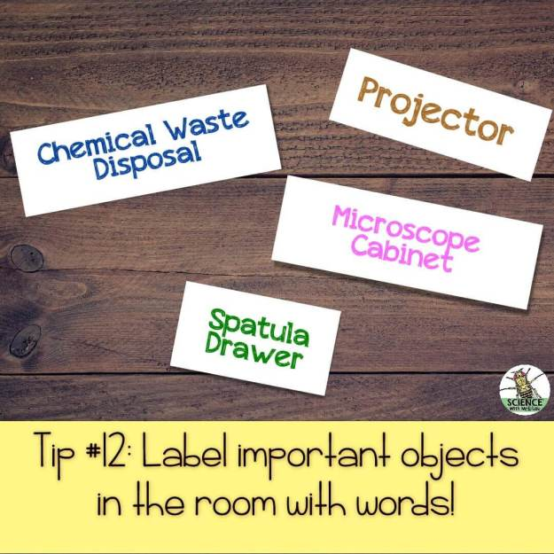 Label important objects in the room with words