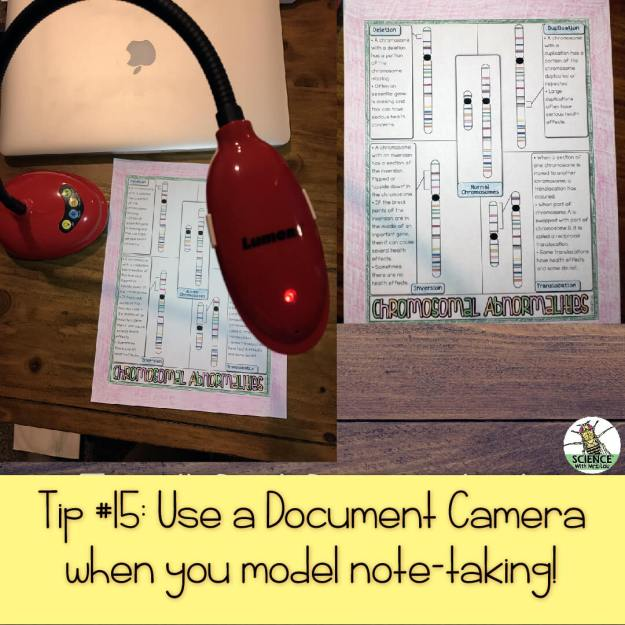 Use a document camera when you model note-taking