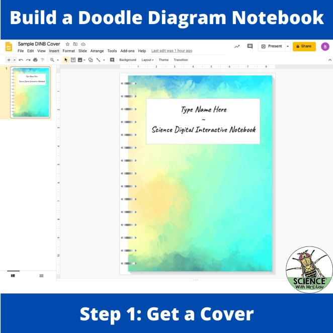 Create a cover page in google slides for your digital notebook