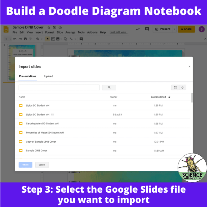 Importing pages into google slides for your notebook 2