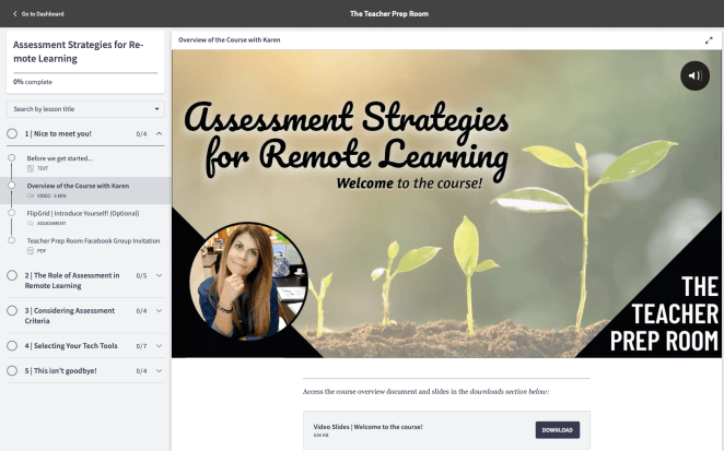 Assessment strategies for remote learning teacher prep room course