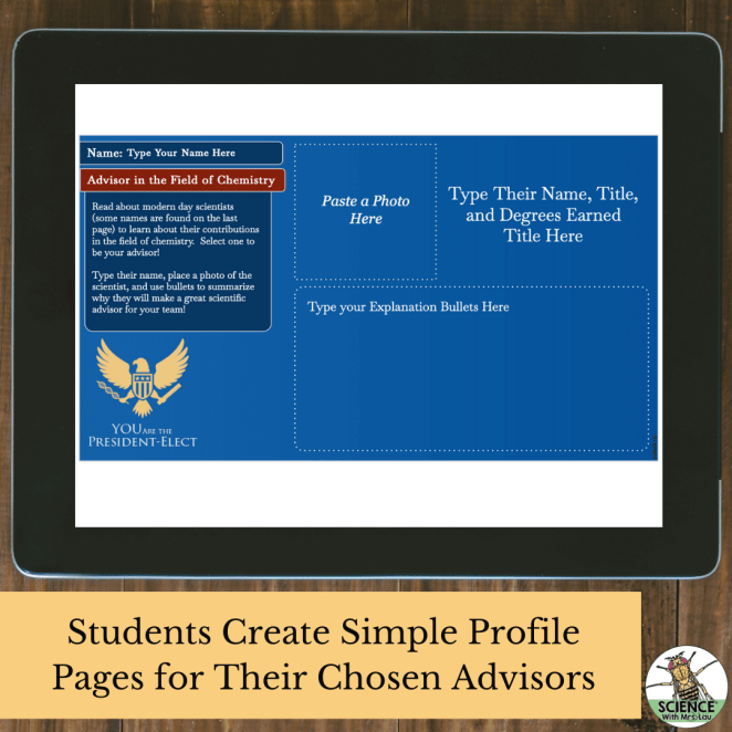 Students create simple profile pages for their chosen presidential science advisors