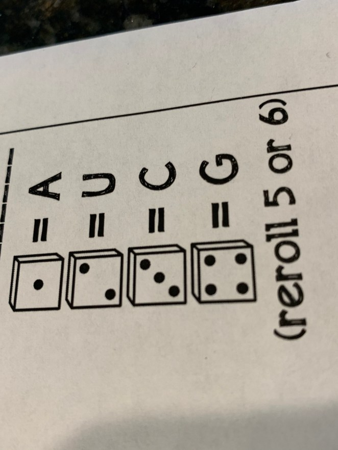 Legend for roll and write protein sequence game