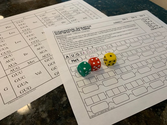 Roll and Write Protein Sequence Game with 6 sided dice