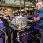 NEWS CENTER FIONA to Take on the Periodic Table's Heavyweights New device at Berkeley Lab's 88-Inch Cyclotron is designed to measure the mass number of superheavy, human-made elements Feature Story Glenn Roberts Jr. (510) 486-5582 • MAY 3, 2017 Share 91 Tweet 39 Reddit +1 12 Share 74 216 SHARES Photo - Berkeley Lab Scientists Jacklyn Gates, left, and Kenneth Gregorich work on FIONA, a new device at the Lab's 88-Inch Cyclotron. FIONA is designed precisely measure the mass number of the periodic table's superheavy elements, and could also be useful for other types of explorations of superheavy elements. (Credit: Marilyn Chung/Berkeley Lab) Berkeley Lab Scientists Jackie Gates, left, and Kenneth Gregorich work on FIONA, a new device at the Lab's 88-Inch Cyclotron.
