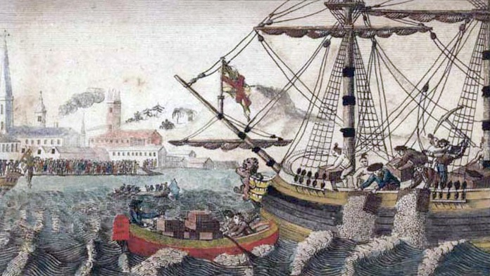 drawing of the Boston tea party