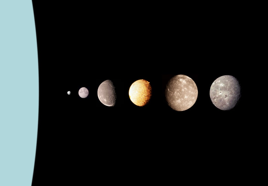a picture of Uranus and some of its moons.