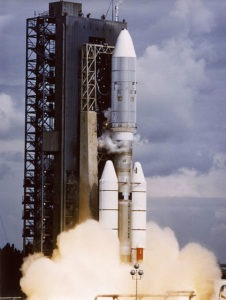 Launch of the Voyager 2 space probe