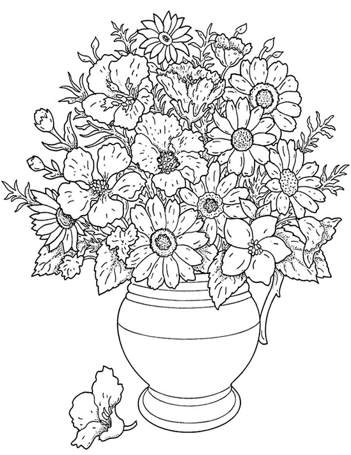this coloring page features a large pot of flowers add some color to