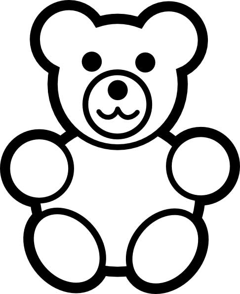 teddy bear coloring page for kids free printable picture