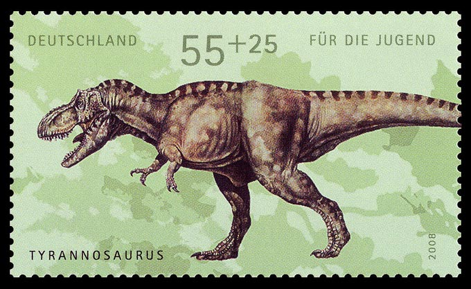This picture shows a German postage stamp featuring the Tyrannosaurus rex. Tyrannosaurus rex was a large Theropod dinosaur that lived during the late Cretaceous Period (around 66 million years ago).