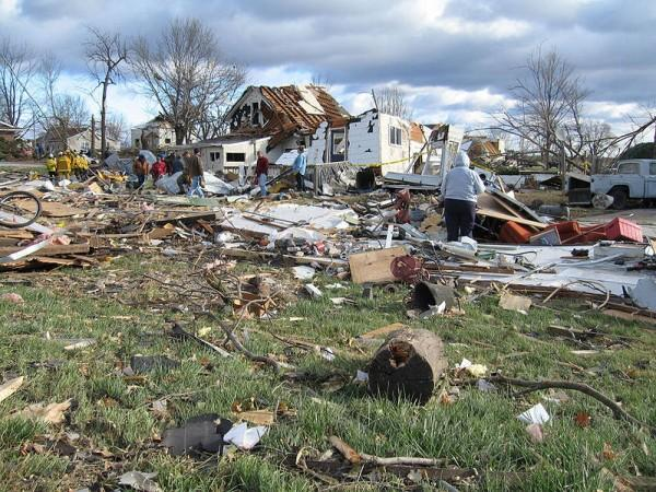 This photo shows the shocking reality of the damage that can be caused by powerful tornadoes. This tornado left a catastrophic path of destruction through many homes and properties.