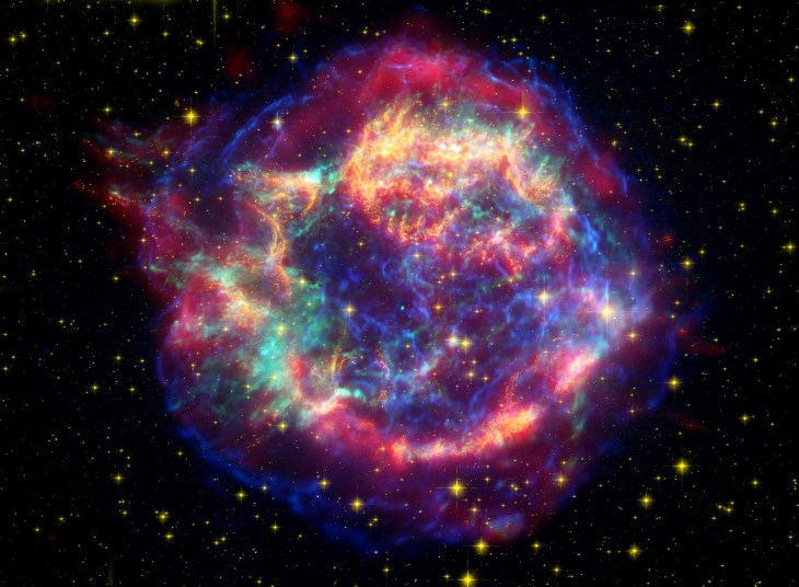 Combined image from Chandra, Hubble and Spitzer