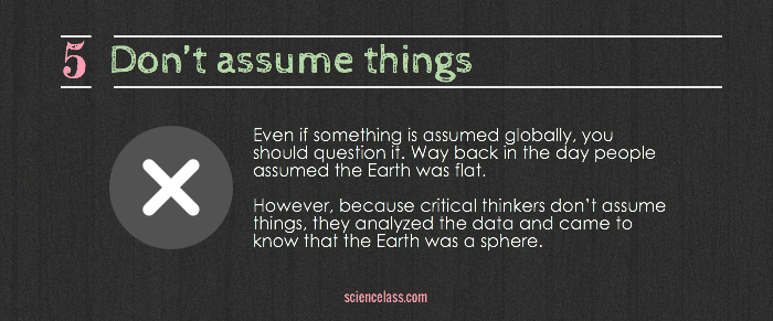 Don't assume things