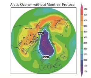 How the ozone hole in the Arctic zone would have appeared by 26th March 2011 if the Montreal Protocol had not existed. Credit: Chipperfield et al., Nature Communications