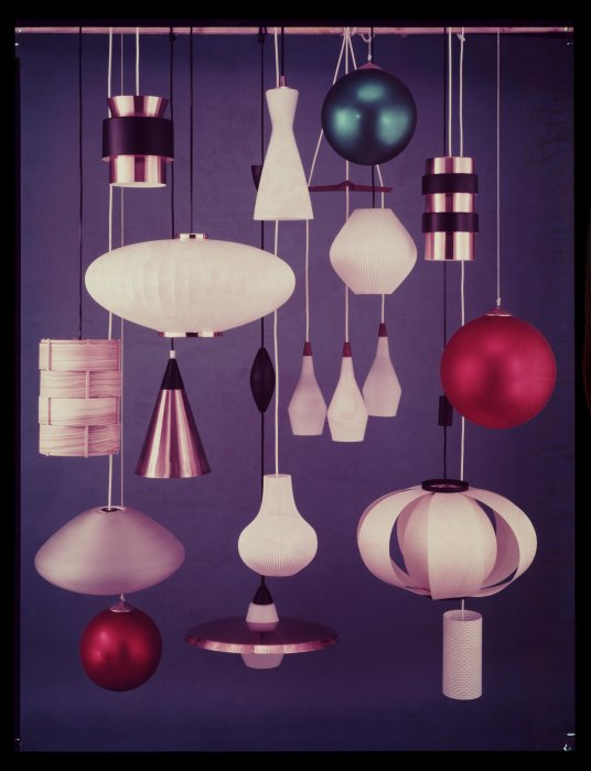 1950s advertising photo showing various styles of pendant lampshade
