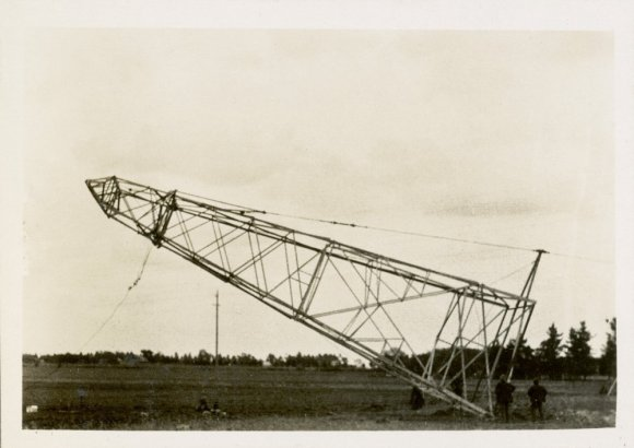 Electricity pylon being erected in a field