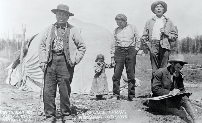 1911 photo of an enumerator collecting data from members of the Winnebago tribe