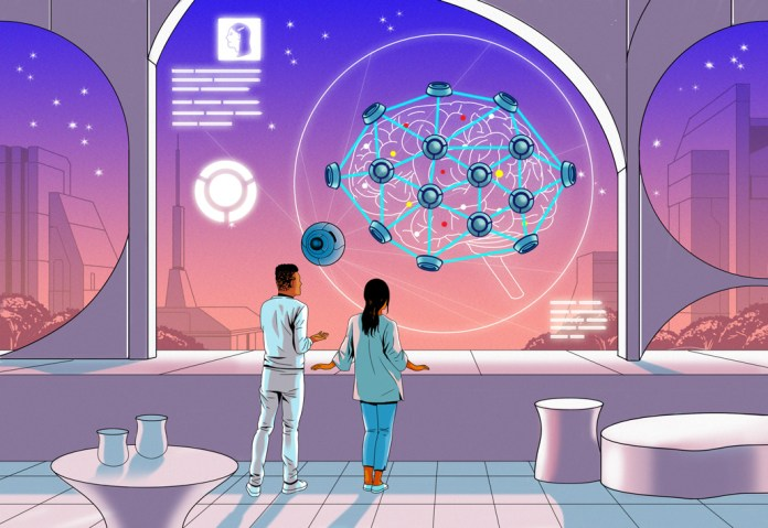 science fiction style illustration of two people looking at a brain mesh system
