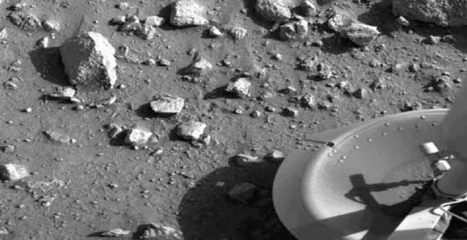 black and white image of the surface of Mars