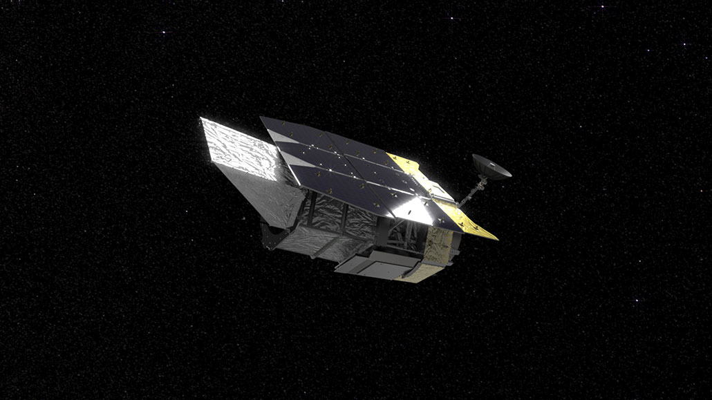 an illustration of a space telescope in space