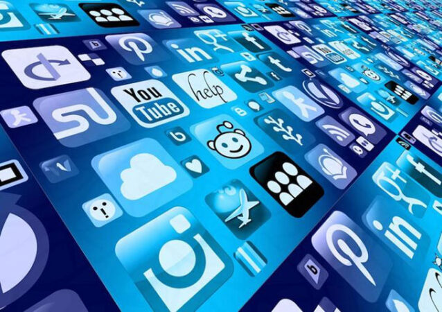 a collage of social media icons in blue