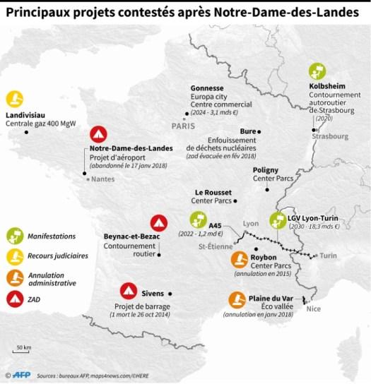 Principaux projets constestés après Notre-Dame-des-Landes (AFP - Paz PIZARRO)