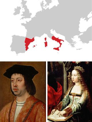 Boven: Aragon in de vijftiende eeuw. Linksonder: Ferdinand II en rechtsonder zijn vrouw. Afbeeldingen: via Wikimedia Commons.