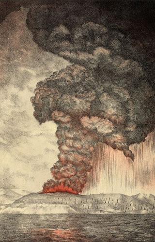 De uitbarsting van Krakatau. Een tekening uit 1888. Afbeelding: via Wikimedia Commons.