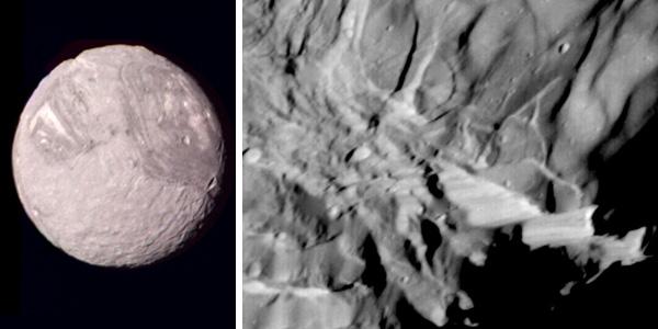 Links: Miranda. Rechts: de Veronarots. Foto's: NASA.