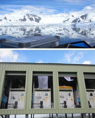 Een baai op Antarctica (boven) en de mobiele laboratoria op Antarctica (onder).