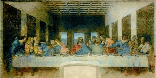 Het laatste avondmaal van Leonardo Da Vinci. De twaalf apostelen van Jezus waren de eerste volgers die het Christendom zouden verkondigen. Foto: Wikimedia Commons