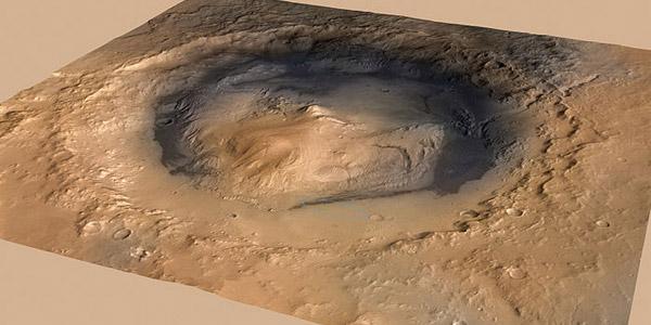 Gale-krater met in het midden Mount Sharp