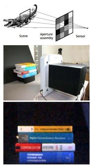 De eerste foto gemaakt met de lensloze camera: een stapel boeken.