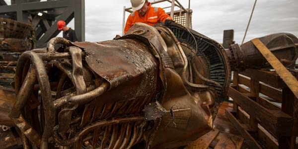 Een raketmotor die Bezos opviste. Afbeelding: Bezos Expeditions.