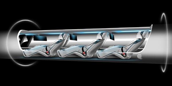 Passagiers in de hyperloop. Afbeelding: Elon Musk.