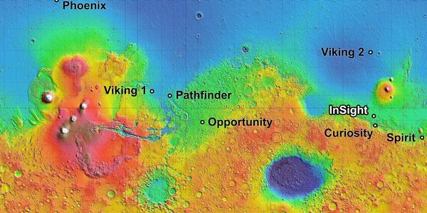 Het gebied waarin InSight gaat landen op de kaart. Ook staan landingsplaatsen van andere missies op de kaart aangegeven. Afbeelding: NASA / JPL Caltech.