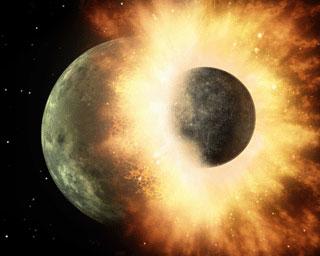Theia klapt op de jonge aarde. Afbeelding: NASA.